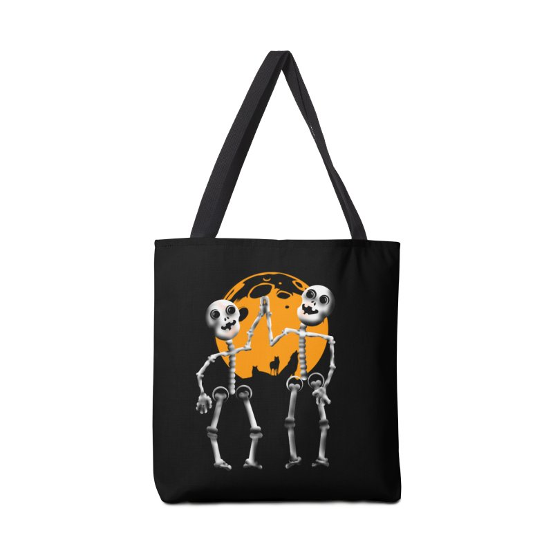 Skeleton moon and wolves Halloween shirt Accessories Tote Bag Bag by Make a statement, laugh, enjoy.