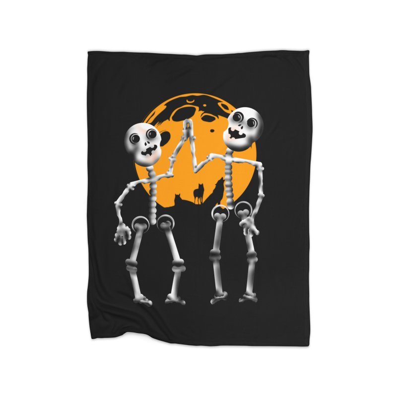 Skeleton moon and wolves Halloween shirt Home Fleece Blanket Blanket by Make a statement, laugh, enjoy.