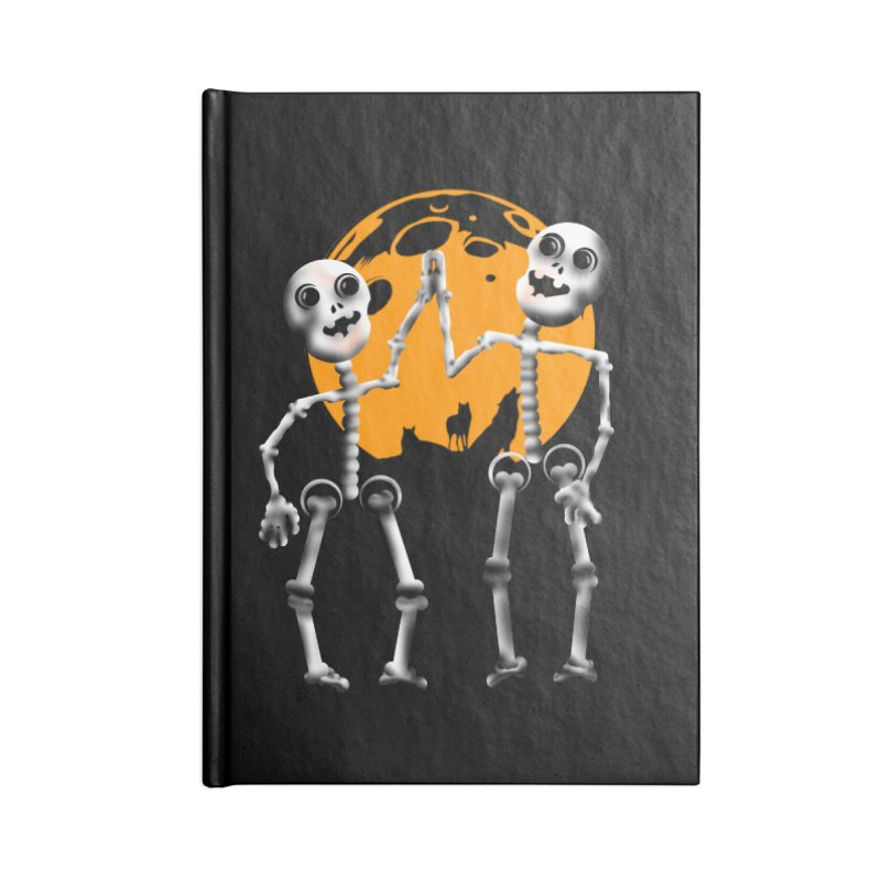 Skeleton moon and wolves Halloween shirt Accessories Blank Journal Notebook by Make a statement, laugh, enjoy.