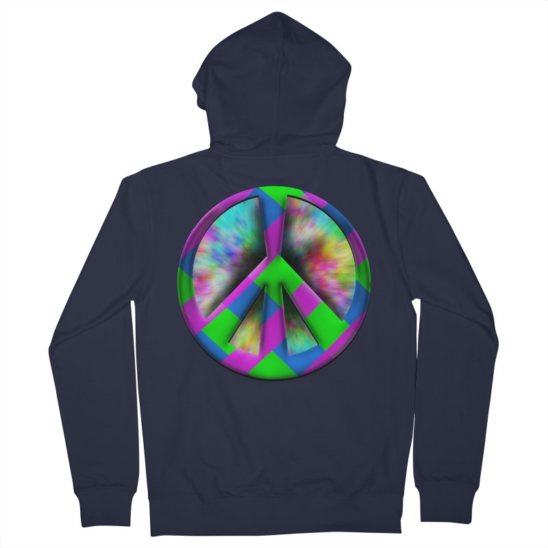 Colorful Peace symbol Men's French Terry Zip-Up Hoody by Make a statement, laugh, enjoy.