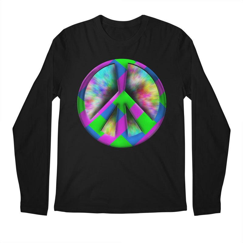 Colorful Peace symbol Men's Regular Longsleeve T-Shirt by Make a statement, laugh, enjoy.