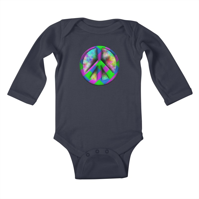 Colorful Peace symbol Kids Baby Longsleeve Bodysuit by Sporkshirts's tshirt gamer movie and design shop.