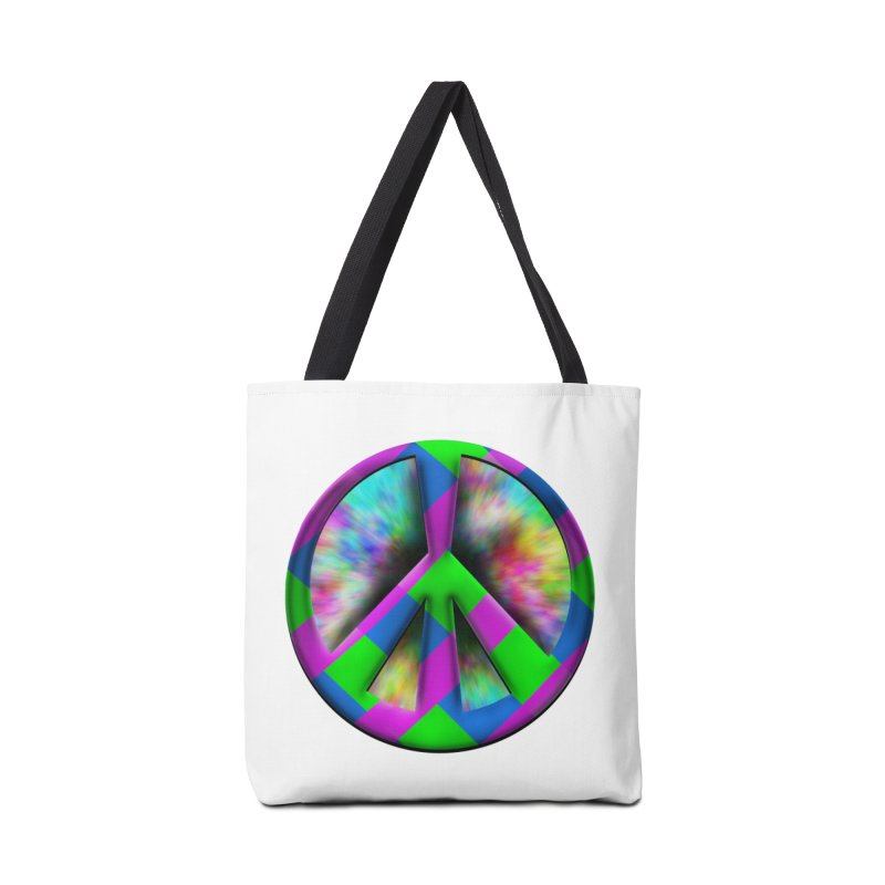 Colorful Peace symbol Accessories Tote Bag Bag by Make a statement, laugh, enjoy.