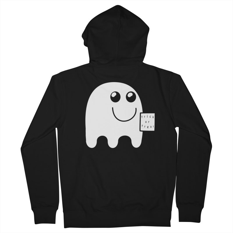 Trick or Treat ghost Women's French Terry Zip-Up Hoody by Make a statement, laugh, enjoy.