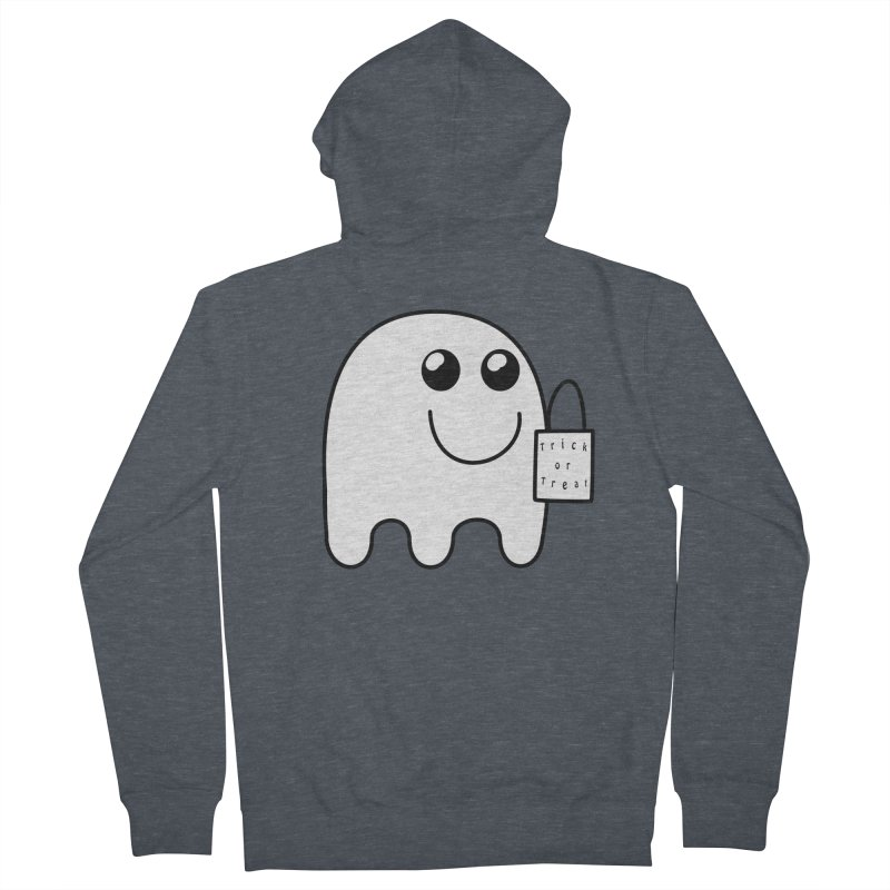 Trick or Treat ghost Men's French Terry Zip-Up Hoody by Make a statement, laugh, enjoy.