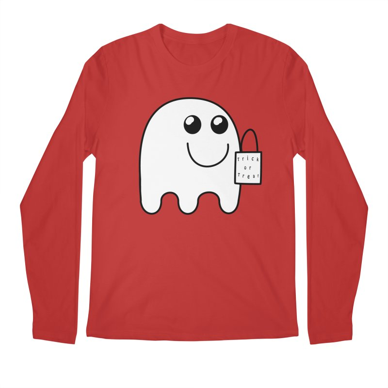Trick or Treat ghost Men's Regular Longsleeve T-Shirt by Make a statement, laugh, enjoy.