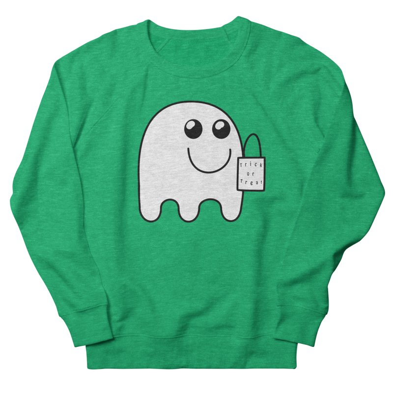 Trick or Treat ghost Women's French Terry Sweatshirt by Make a statement, laugh, enjoy.