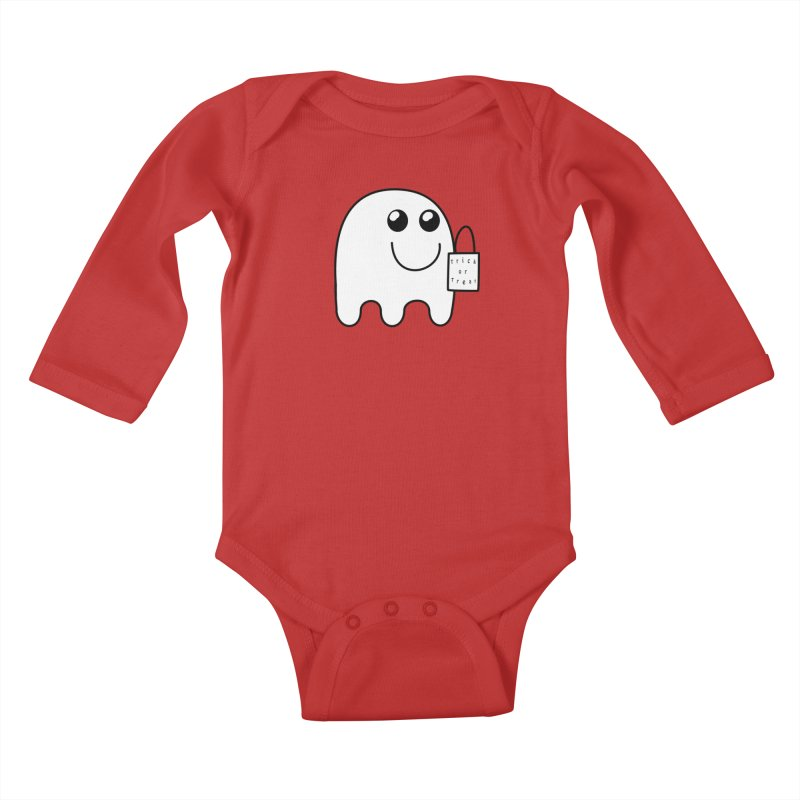 Trick or Treat ghost Kids Baby Longsleeve Bodysuit by Make a statement, laugh, enjoy.