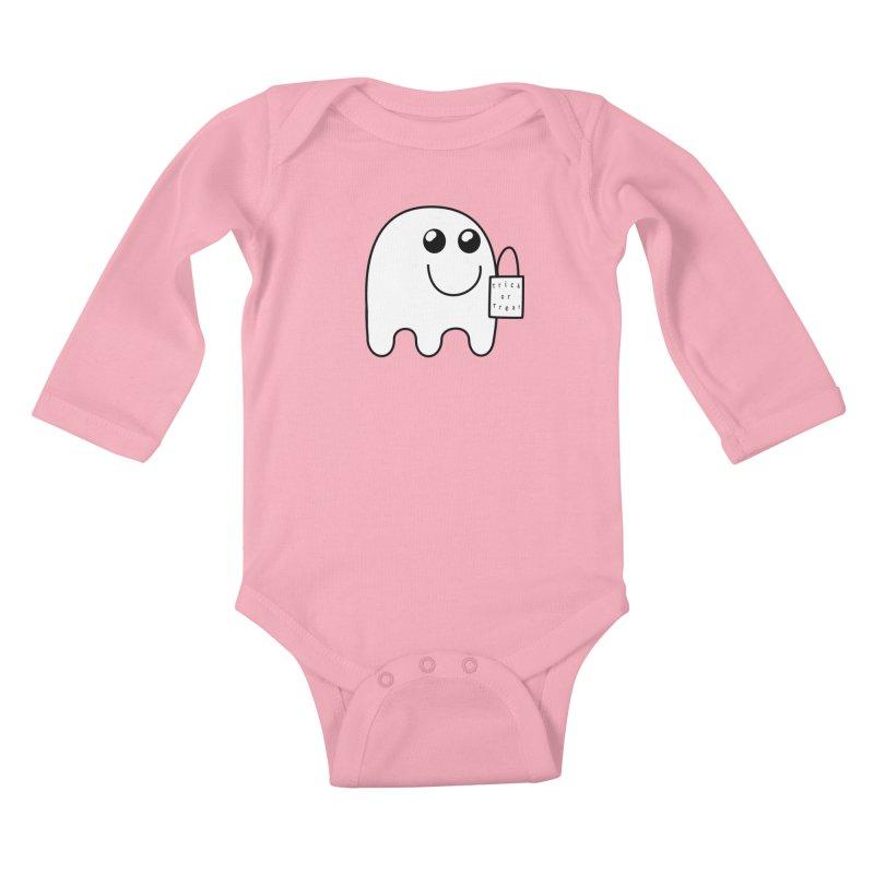 Trick or Treat ghost Kids Baby Longsleeve Bodysuit by Sporkshirts's tshirt gamer movie and design shop.