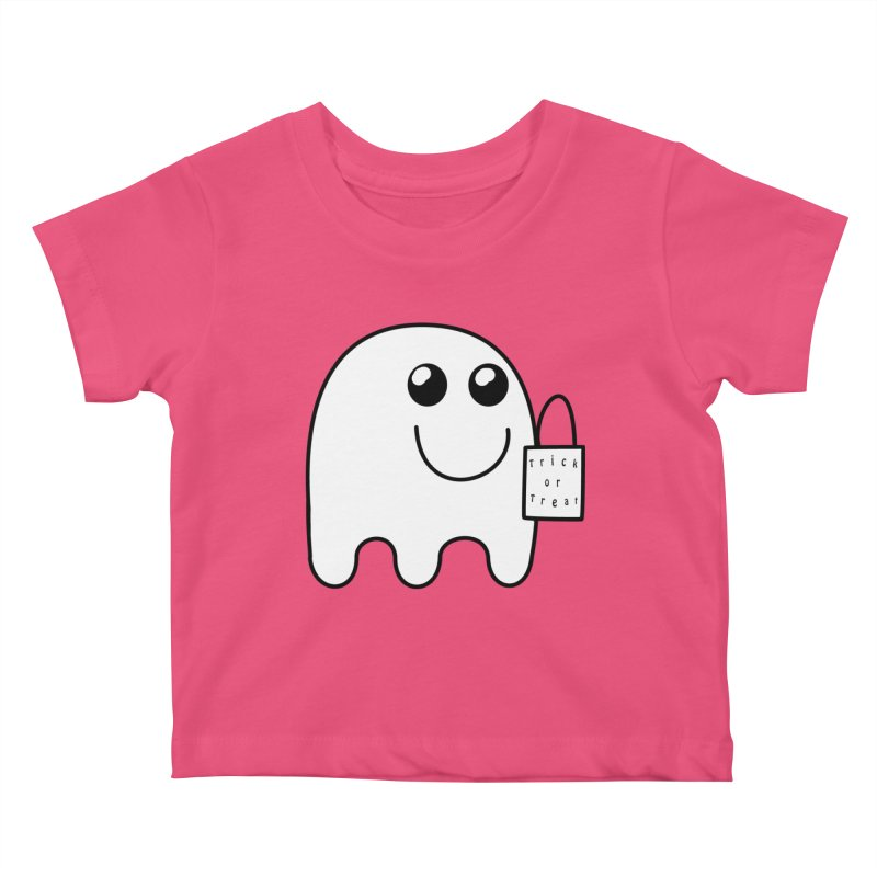 Trick or Treat ghost Kids Baby T-Shirt by Make a statement, laugh, enjoy.