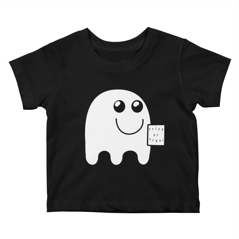 Trick or Treat ghost Kids Baby T-Shirt by Sporkshirts's tshirt gamer movie and design shop.