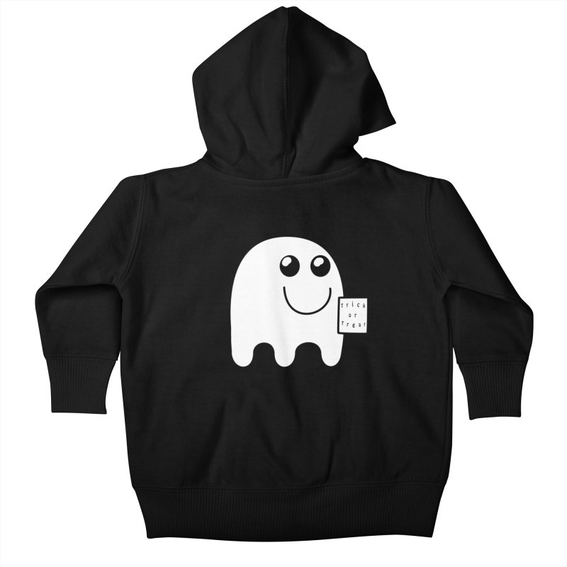 Trick or Treat ghost Kids Baby Zip-Up Hoody by Make a statement, laugh, enjoy.