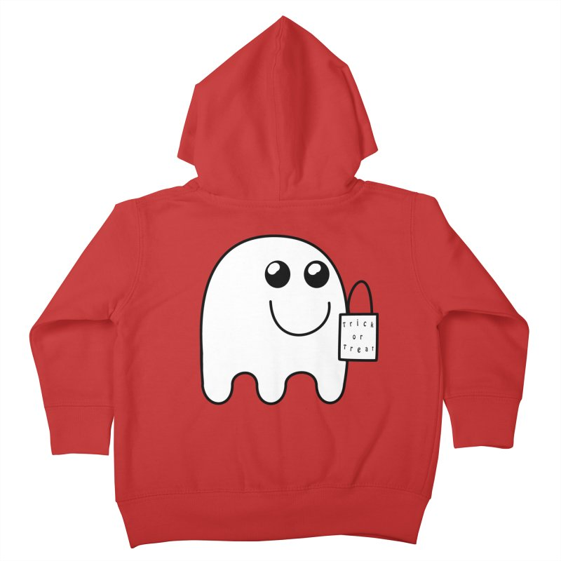 Trick or Treat ghost Kids Toddler Zip-Up Hoody by Sporkshirts's tshirt gamer movie and design shop.
