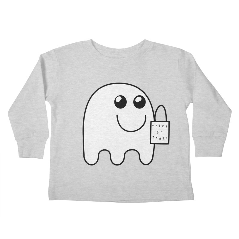 Trick or Treat ghost Kids Toddler Longsleeve T-Shirt by Sporkshirts's tshirt gamer movie and design shop.