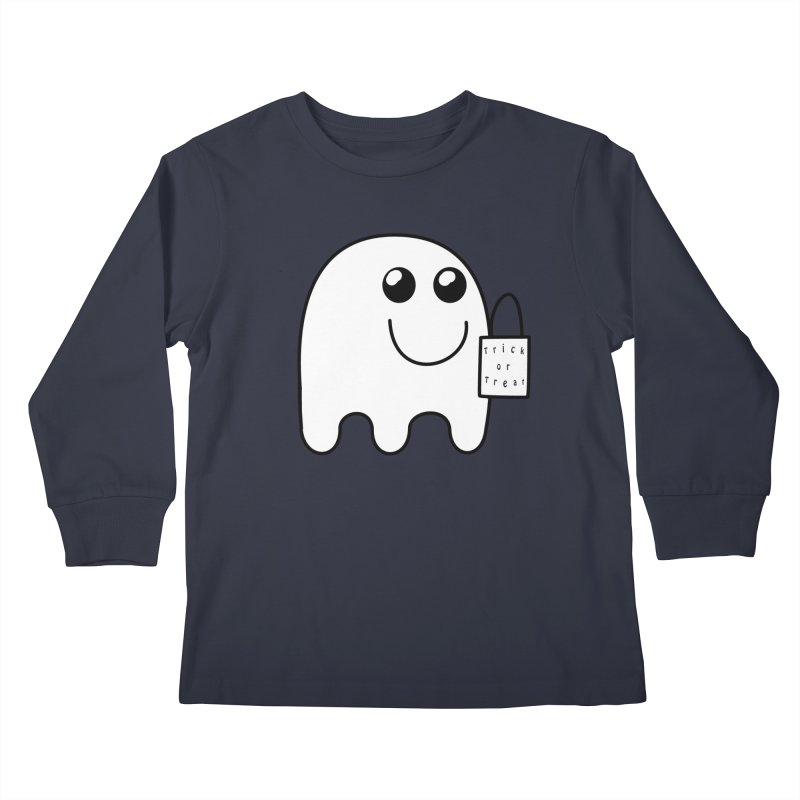 Trick or Treat ghost Kids Longsleeve T-Shirt by Make a statement, laugh, enjoy.