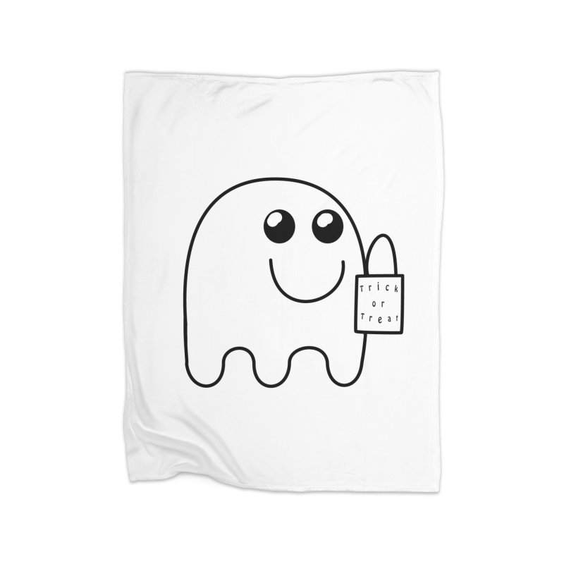 Trick or Treat ghost Home Fleece Blanket Blanket by Make a statement, laugh, enjoy.