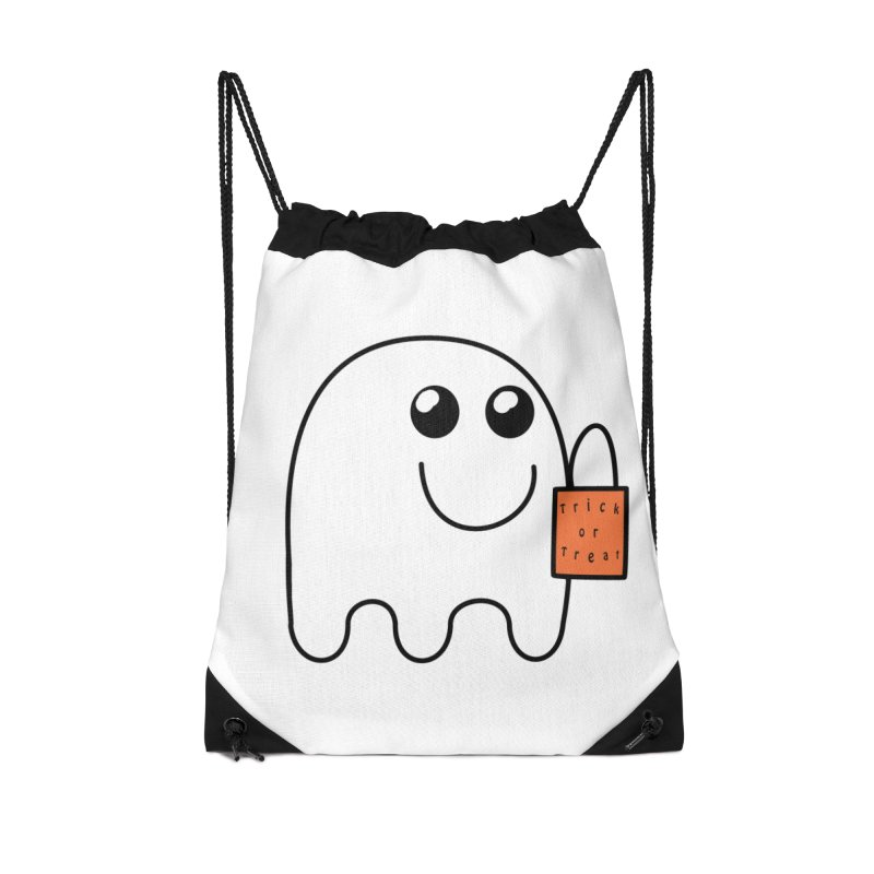 Ghost with orange Trick or Treat Bag in Drawstring Bag by Make a statement, laugh, enjoy.