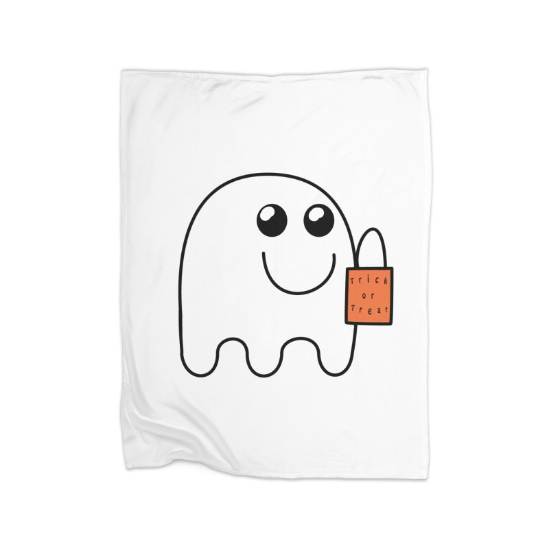 Ghost with orange Trick or Treat Bag Home Fleece Blanket Blanket by Make a statement, laugh, enjoy.