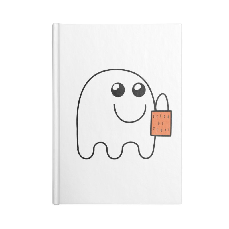 Ghost with orange Trick or Treat Bag Accessories Blank Journal Notebook by Make a statement, laugh, enjoy.
