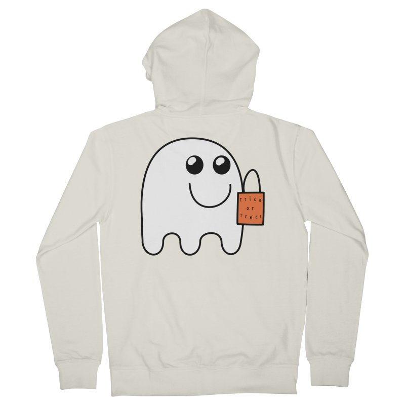 Ghost with orange Trick or Treat Bag Women's French Terry Zip-Up Hoody by Make a statement, laugh, enjoy.