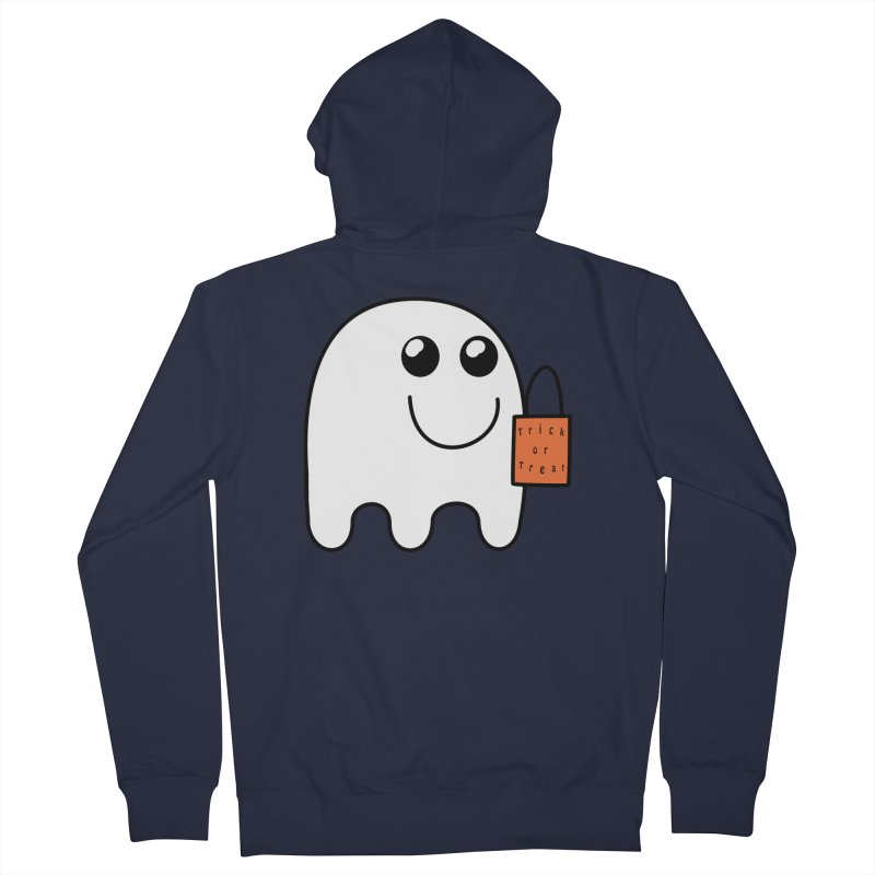 Ghost with orange Trick or Treat Bag Men's French Terry Zip-Up Hoody by Make a statement, laugh, enjoy.