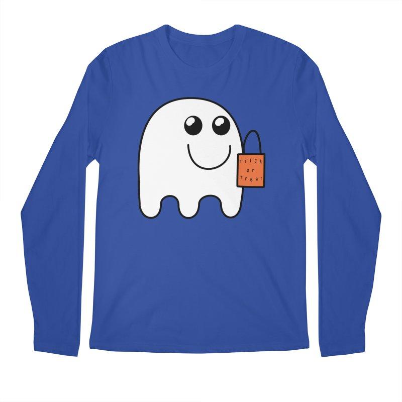 Ghost with orange Trick or Treat Bag Men's Regular Longsleeve T-Shirt by Make a statement, laugh, enjoy.