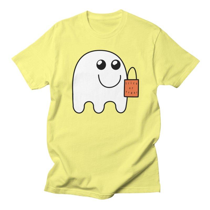 Ghost with orange Trick or Treat Bag Men's Regular T-Shirt by Make a statement, laugh, enjoy.