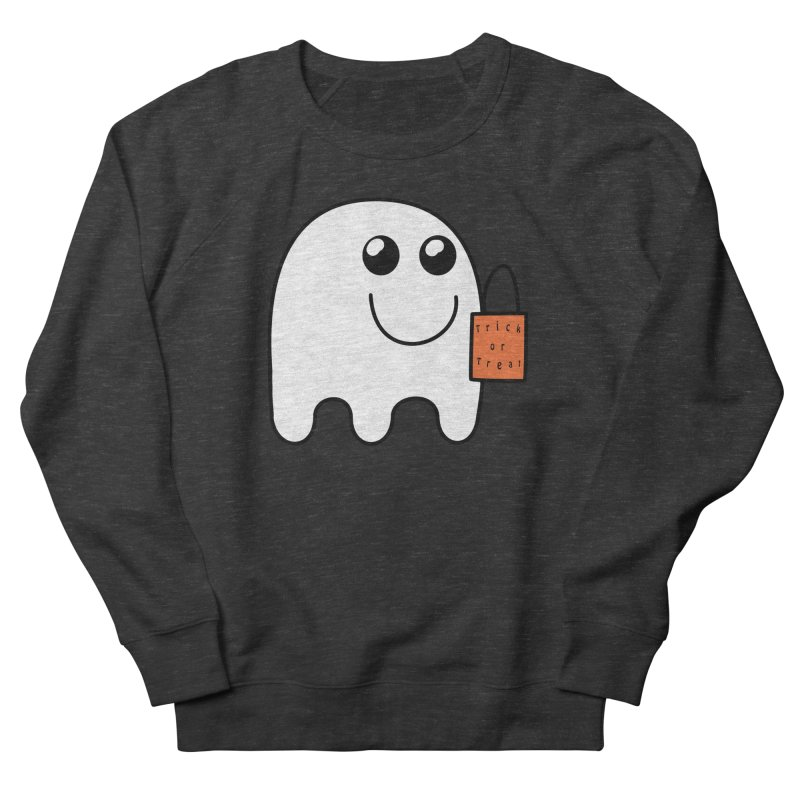 Ghost with orange Trick or Treat Bag Women's French Terry Sweatshirt by Make a statement, laugh, enjoy.