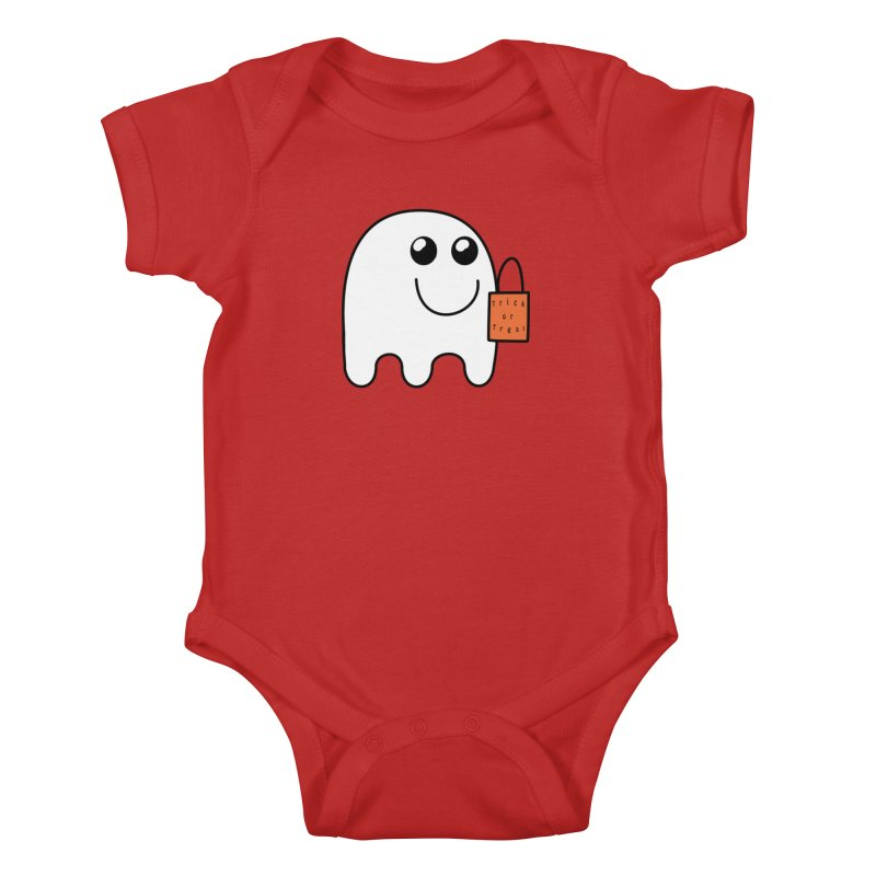Ghost with orange Trick or Treat Bag Kids Baby Bodysuit by Make a statement, laugh, enjoy.