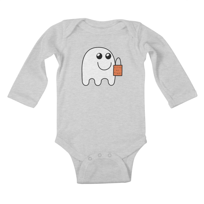 Ghost with orange Trick or Treat Bag Kids Baby Longsleeve Bodysuit by Make a statement, laugh, enjoy.