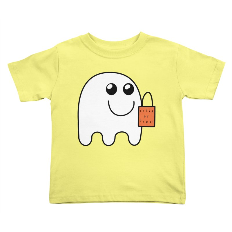 Ghost with orange Trick or Treat Bag Kids Toddler T-Shirt by Sporkshirts's tshirt gamer movie and design shop.