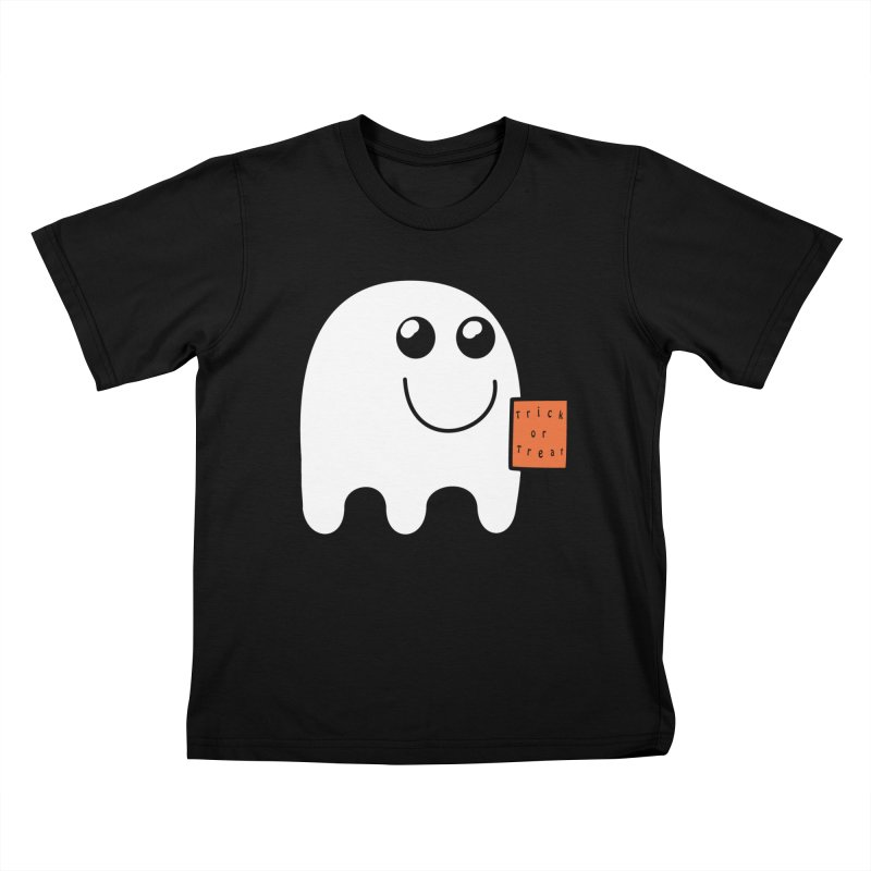 Ghost with orange Trick or Treat Bag in Kids T-Shirt Black by Sporkshirts's tshirt gamer movie and design shop.