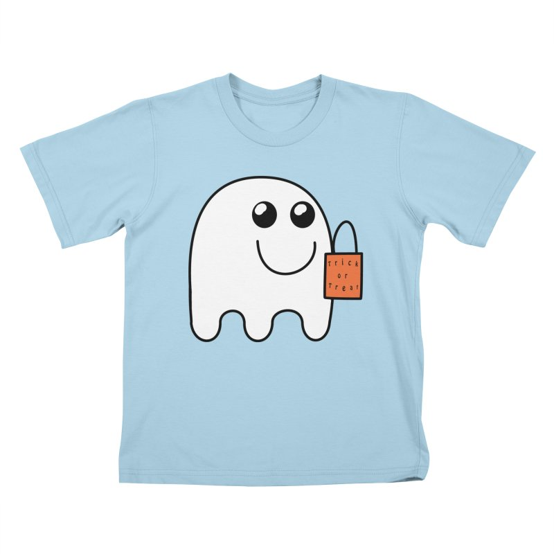 Ghost with orange Trick or Treat Bag Kids T-Shirt by Sporkshirts's tshirt gamer movie and design shop.
