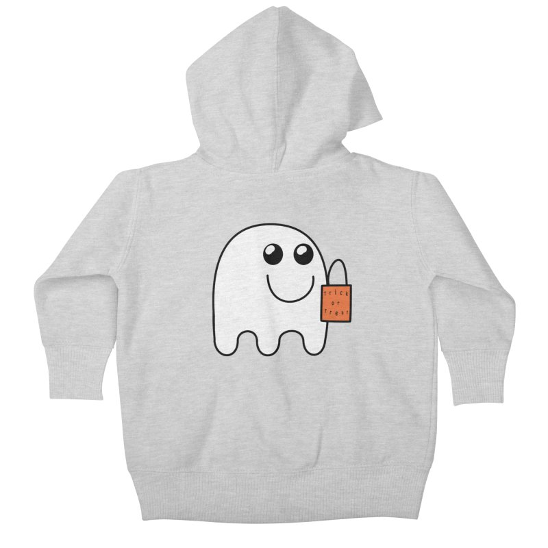 Ghost with orange Trick or Treat Bag Kids Baby Zip-Up Hoody by Make a statement, laugh, enjoy.