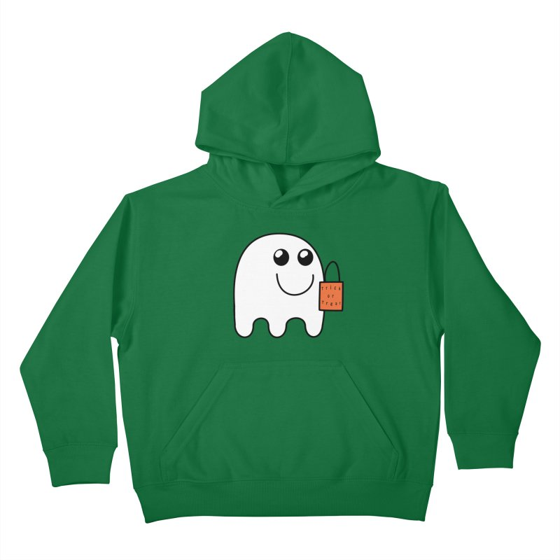 Ghost with orange Trick or Treat Bag Kids Pullover Hoody by Make a statement, laugh, enjoy.