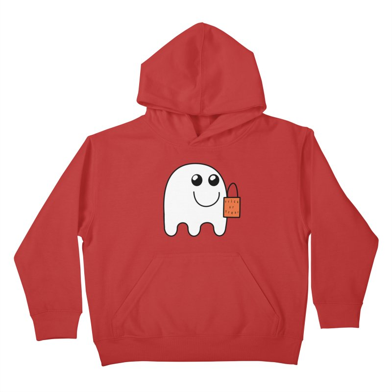 Ghost with orange Trick or Treat Bag Kids Pullover Hoody by Sporkshirts's tshirt gamer movie and design shop.