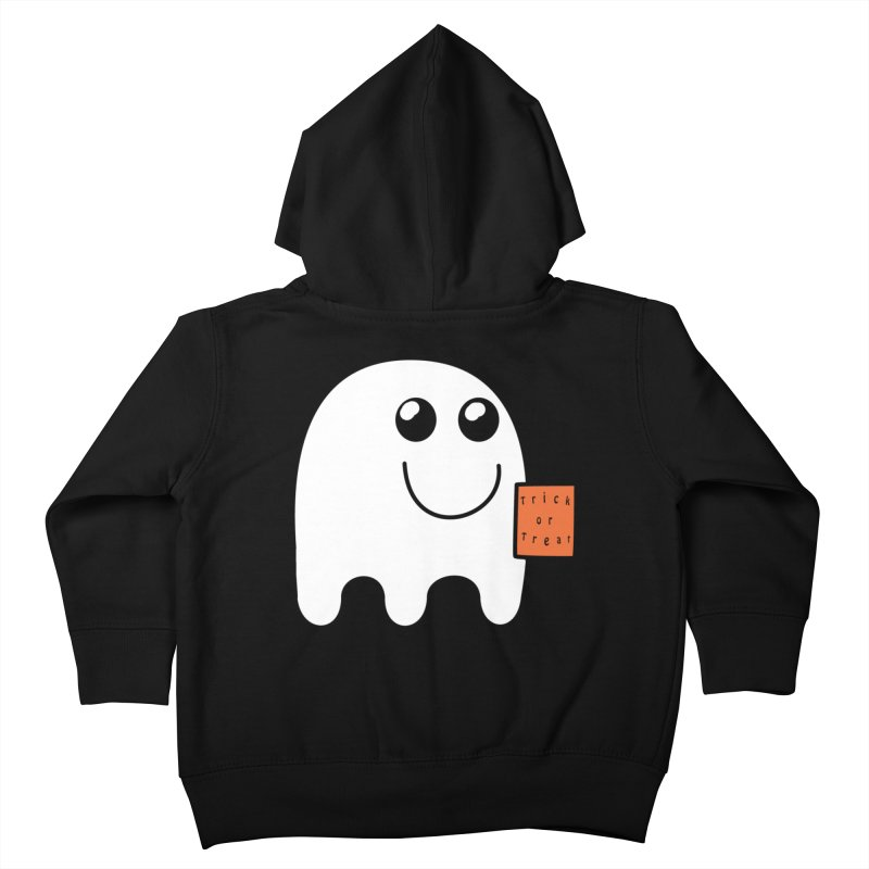 Ghost with orange Trick or Treat Bag Kids Toddler Zip-Up Hoody by Make a statement, laugh, enjoy.