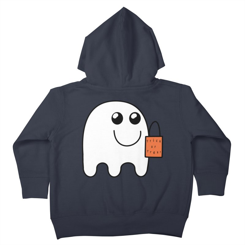 Ghost with orange Trick or Treat Bag Kids Toddler Zip-Up Hoody by Sporkshirts's tshirt gamer movie and design shop.