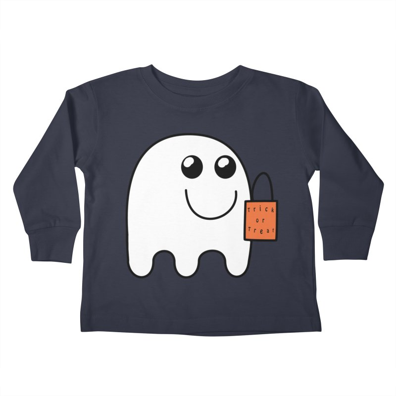 Ghost with orange Trick or Treat Bag Kids Toddler Longsleeve T-Shirt by Sporkshirts's tshirt gamer movie and design shop.