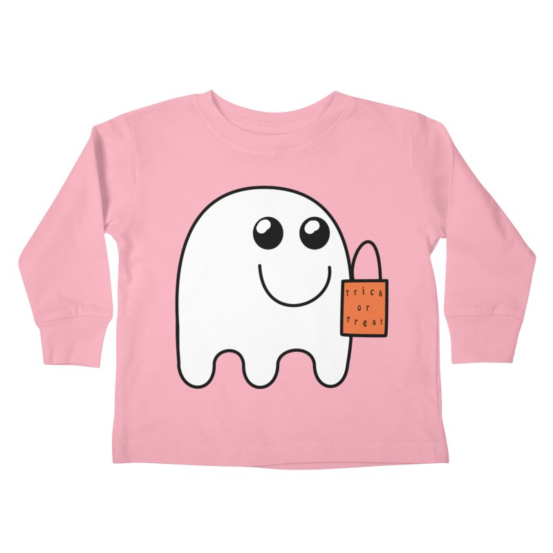 Ghost with orange Trick or Treat Bag Kids Toddler Longsleeve T-Shirt by Make a statement, laugh, enjoy.