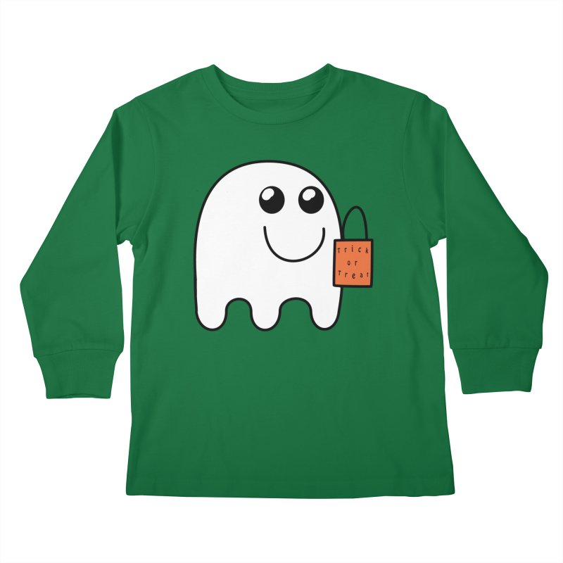 Ghost with orange Trick or Treat Bag Kids Longsleeve T-Shirt by Sporkshirts's tshirt gamer movie and design shop.