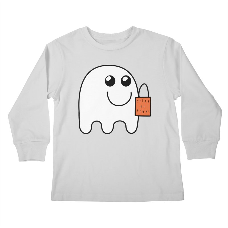 Ghost with orange Trick or Treat Bag Kids Longsleeve T-Shirt by Make a statement, laugh, enjoy.