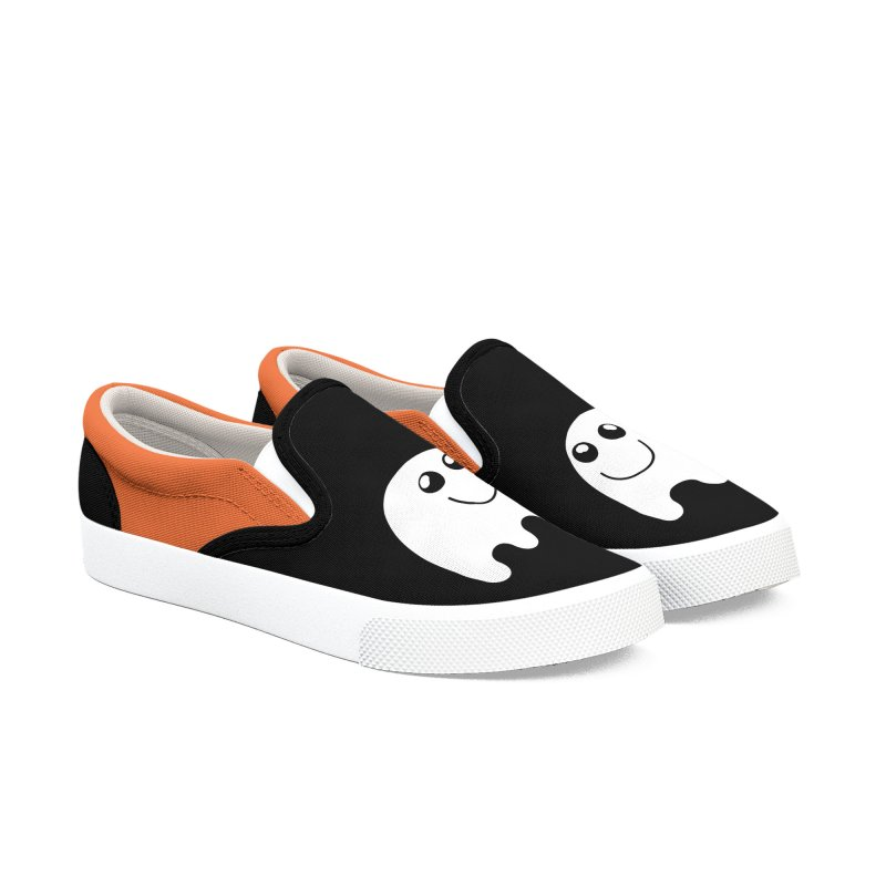 Happy Ghost Women's Slip-On Shoes by Make a statement, laugh, enjoy.
