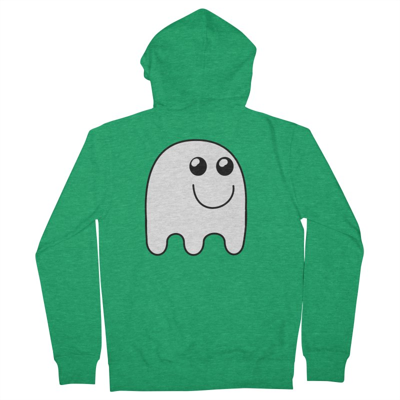 Happy Ghost Women's French Terry Zip-Up Hoody by Make a statement, laugh, enjoy.