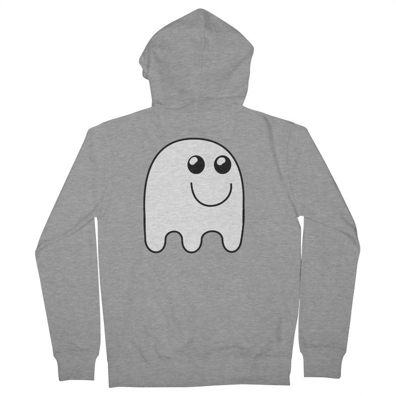Happy Ghost Men's French Terry Zip-Up Hoody by Make a statement, laugh, enjoy.