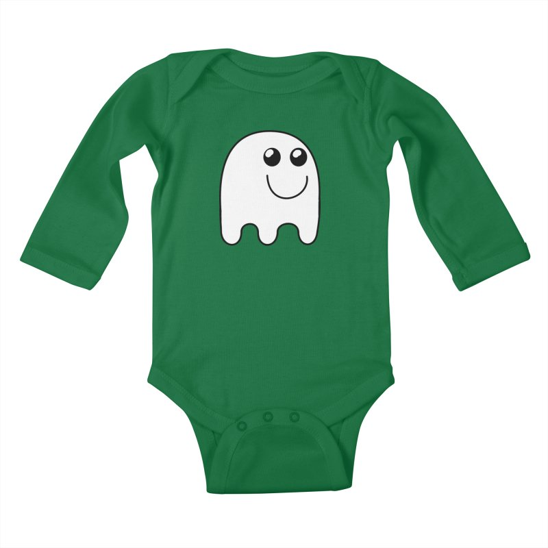 Happy Ghost Kids Baby Longsleeve Bodysuit by Make a statement, laugh, enjoy.