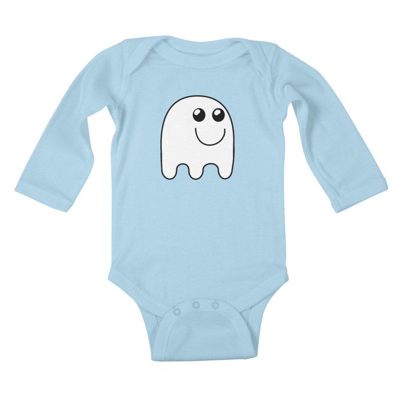Happy Ghost Kids Baby Longsleeve Bodysuit by Make a statement, laugh, enjoy.