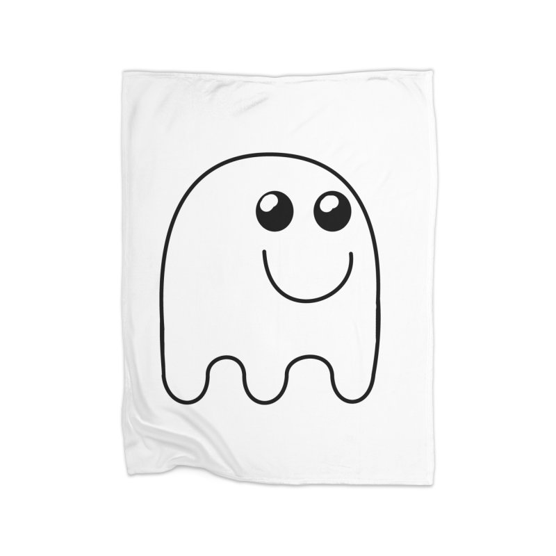 Happy Ghost Home Fleece Blanket Blanket by Make a statement, laugh, enjoy.