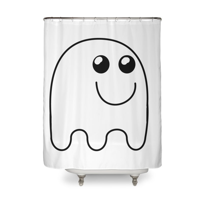 Happy Ghost Home Shower Curtain by Sporkshirts's tshirt gamer movie and design shop.