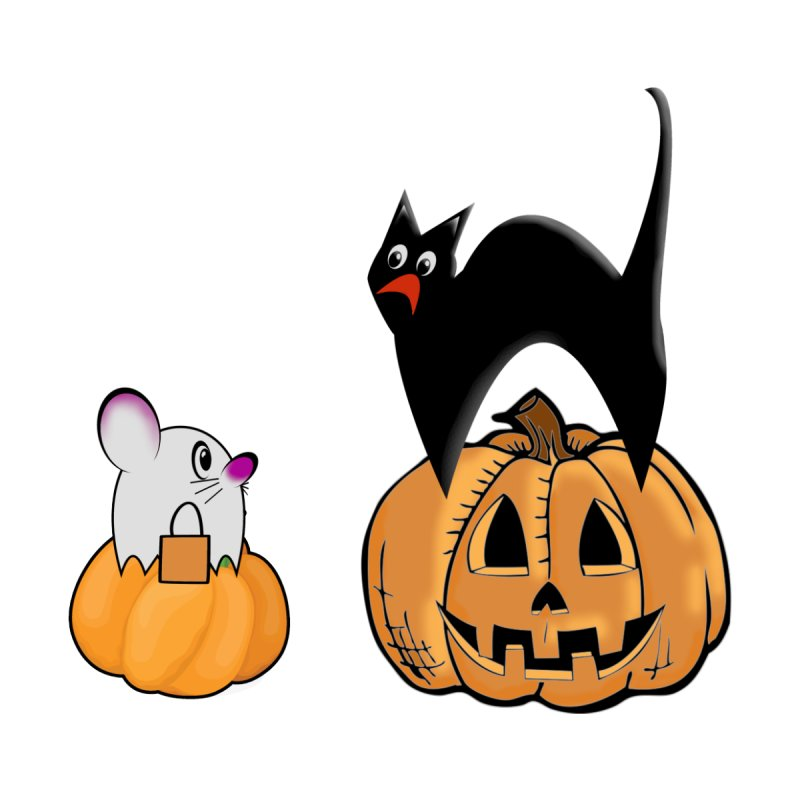 Scared Halloween cat and mouse on pumpkins Men's Sweatshirt by Make a statement, laugh, enjoy.
